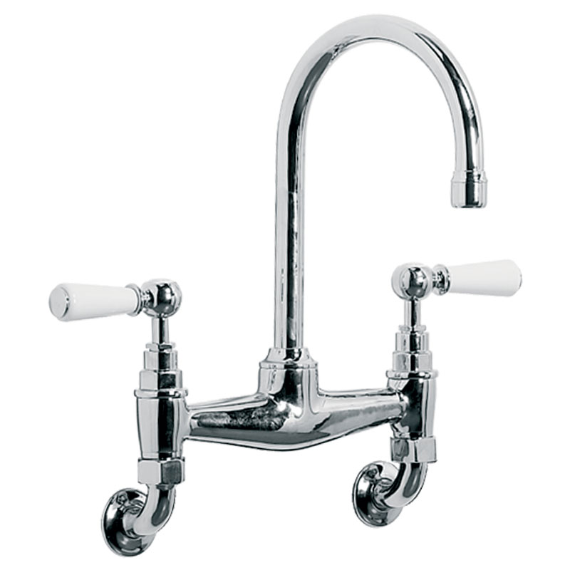 Wl 9008 Classic Wall Mounted Basin Bridge Mixer With White Levers