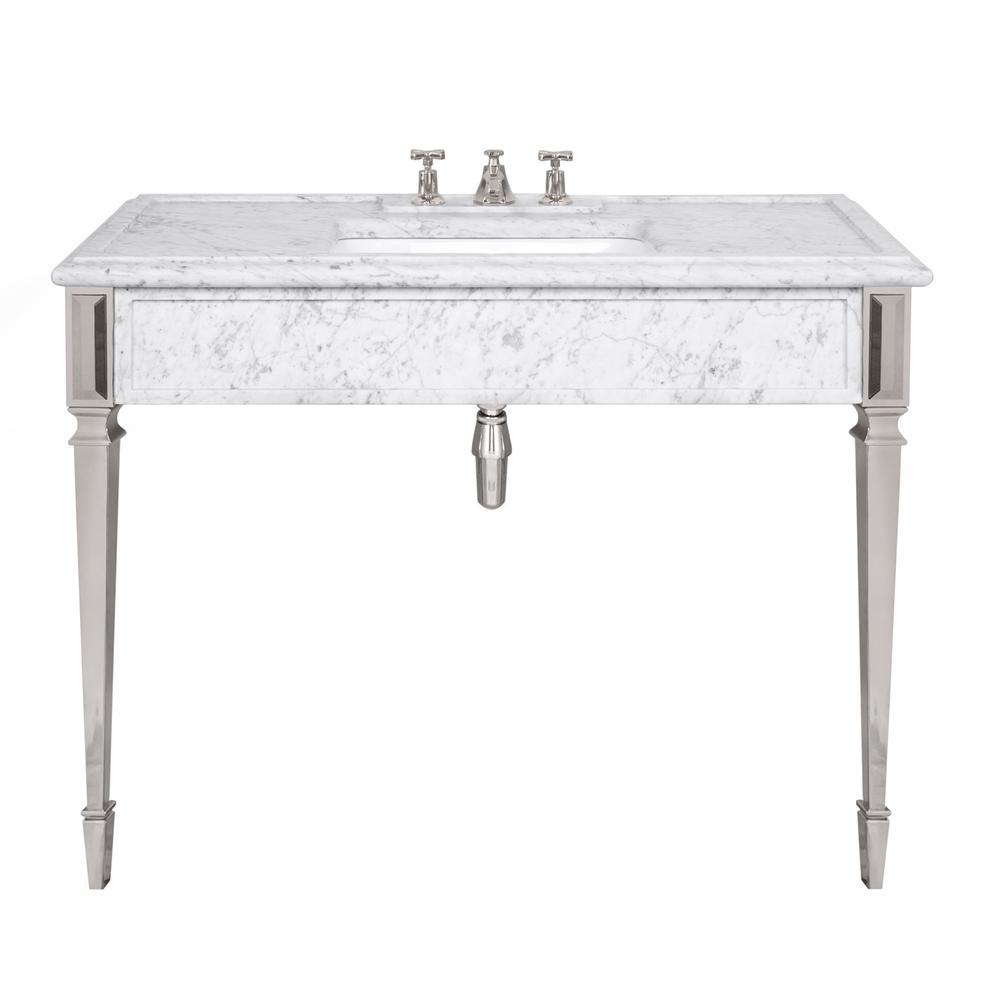 LB 6343 WH Mackintosh single white Carrara marble console