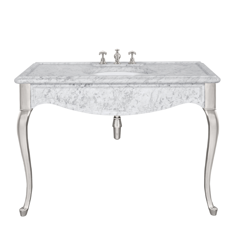LB 6335 WH La Chapelle single white Carrara marble console