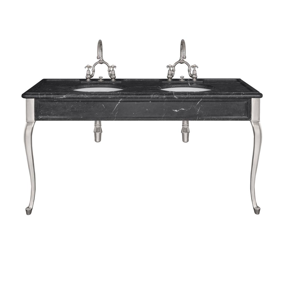 LB 6435 BK La Chapelle double black Marquina marble console