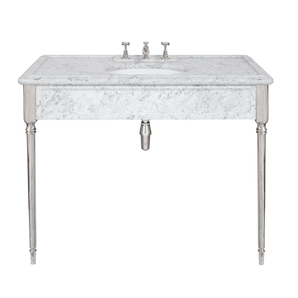 LB 6334 WH Edwardian single white Carrara marble console