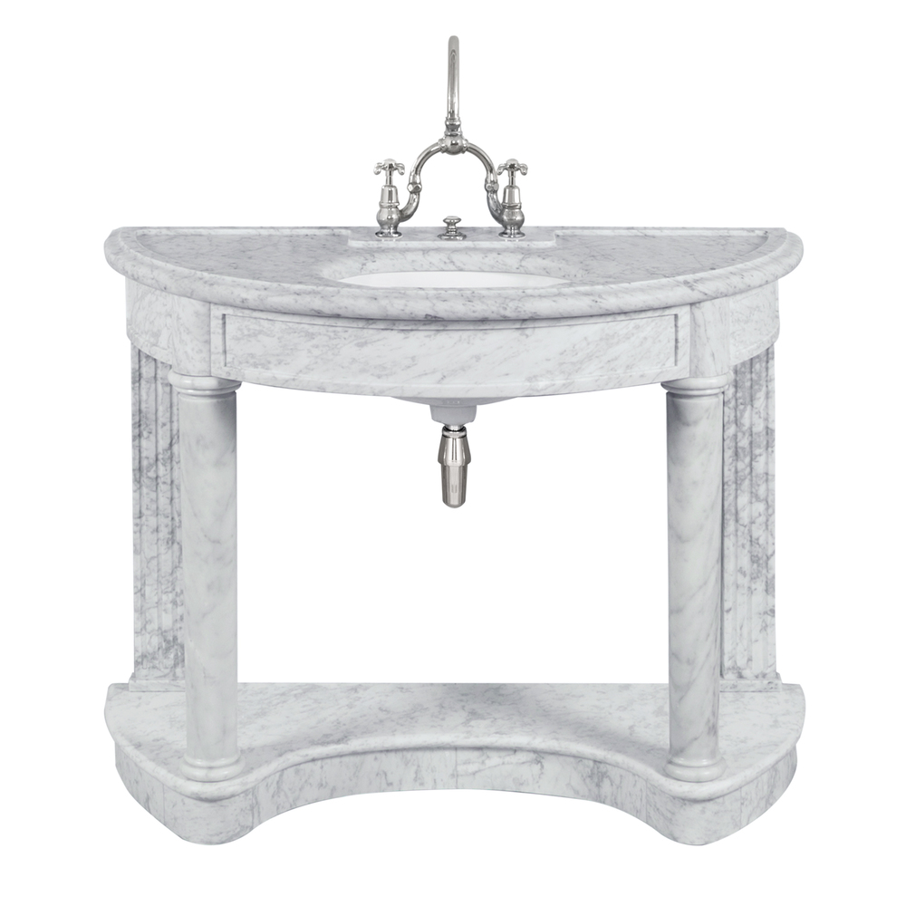 LB 6330 WH Demi Lune single white Carrara marble console