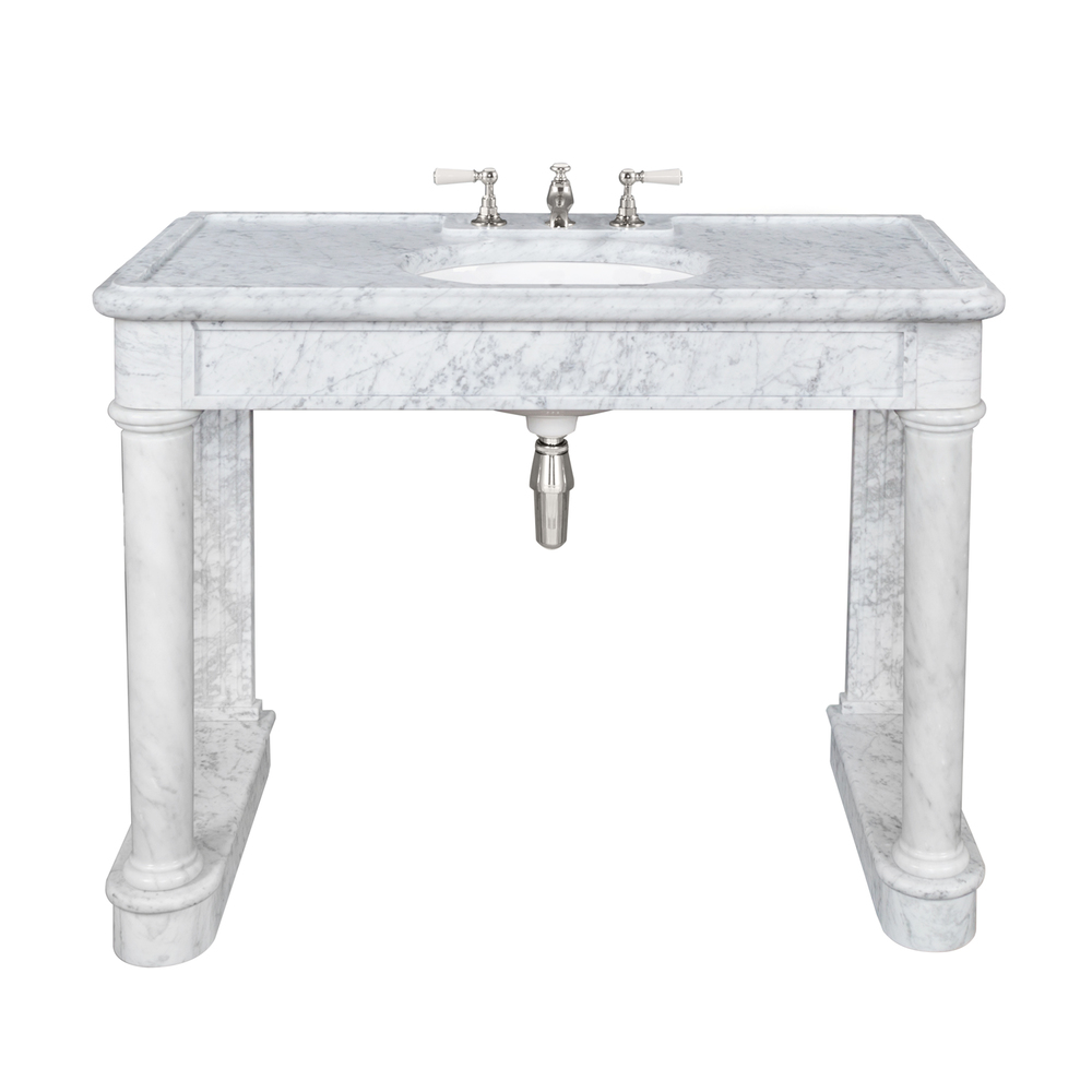 LB 6331 WH Russborough single white Carrara marble console