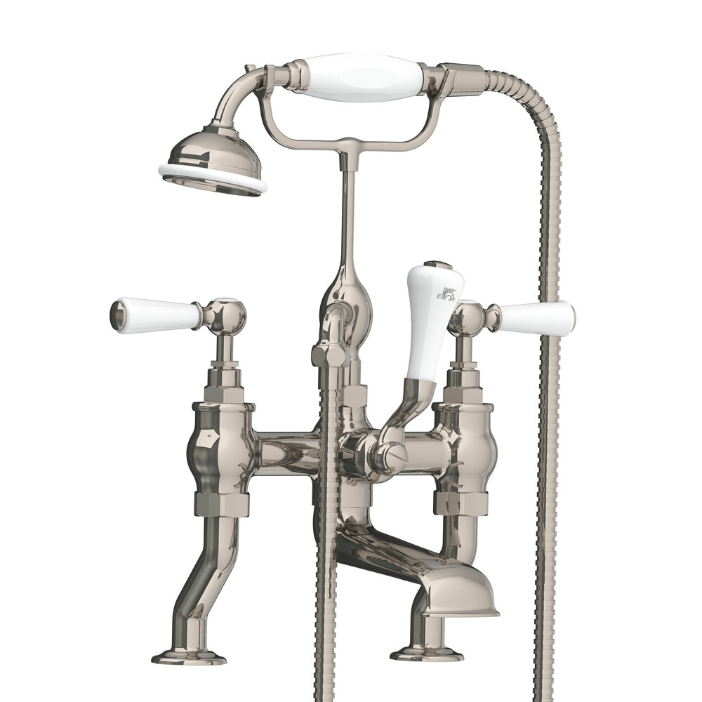 WL 1100 Classic deck mounted bath shower mixer with white levers ...