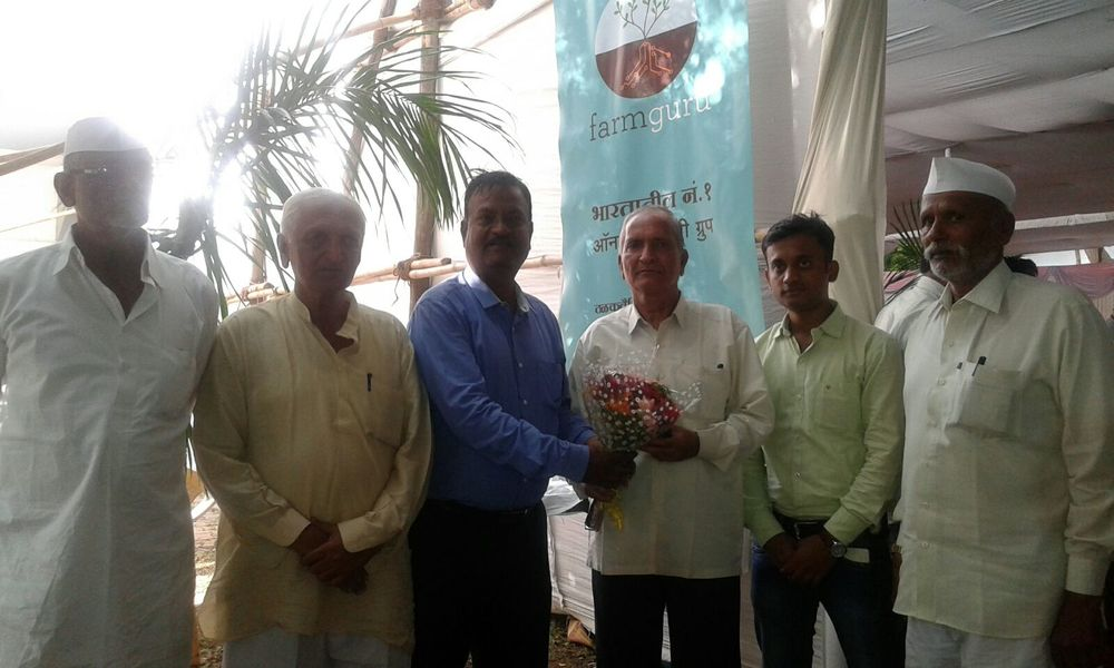 President of MRDBS being felicitated by Team FarmGuru