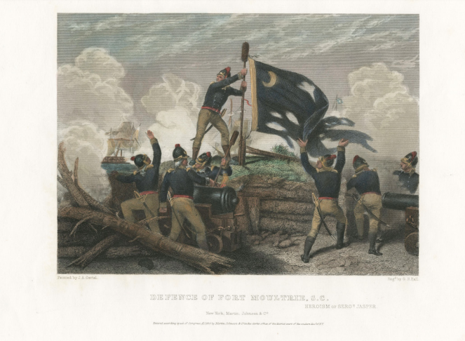 Defence of Fort Moultrie, the Heroism of Sergeant Jasper (courtesy of Martin, Johnson & Co).