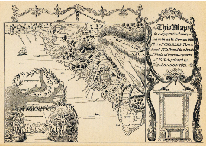 A Map of Charles Town in 1671.  (Map courtesy J.D. Lewis, www.carolana.com)
