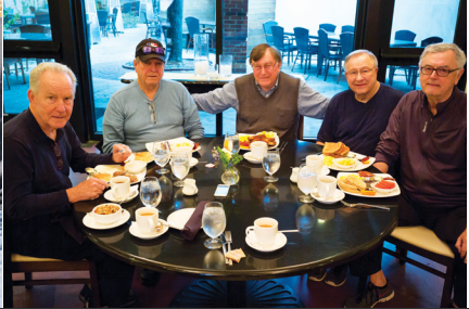 "Breakfast at Southerly with Emory Brown, William ""Pug"" Dudley, Richard Ouzts, Jackie Wear and Mike Williams."