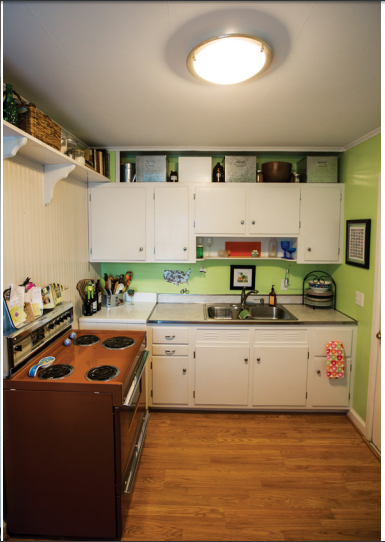 The kitchen countertops in Sarah Stewart's home are from the original J.C. Long construction.