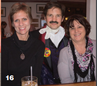 Lisa Vogt and Beth Behegan at Edgar Allan Poe's birthday party, with the guest of honor himself