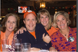 Jane and Dave Manuel, Maureen Marr and Frannie Reese cheer on Clemson in the National Championships