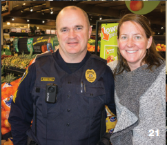 Sergeant Jamey Meekins and Beth Sharp at Coffee with a Cop at Harris Teeter