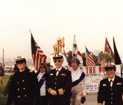 Sue Widhalm (left) and Arlene Southerland (far right) in a parade for the dedication of the Women's Vietnam Memorial in Washington, DC, on November 11, 1993.