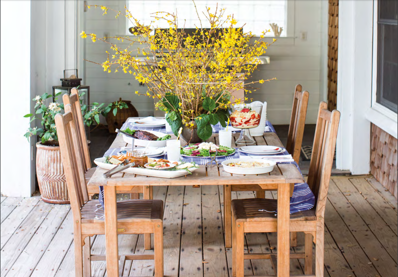 The table at The Bea's Nest is set for a scrumptious Lowcountry feast.