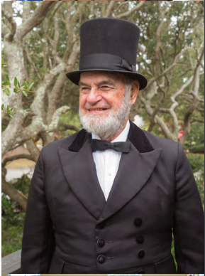 Charlie Dieckmann dons his signature stovepipe hat.