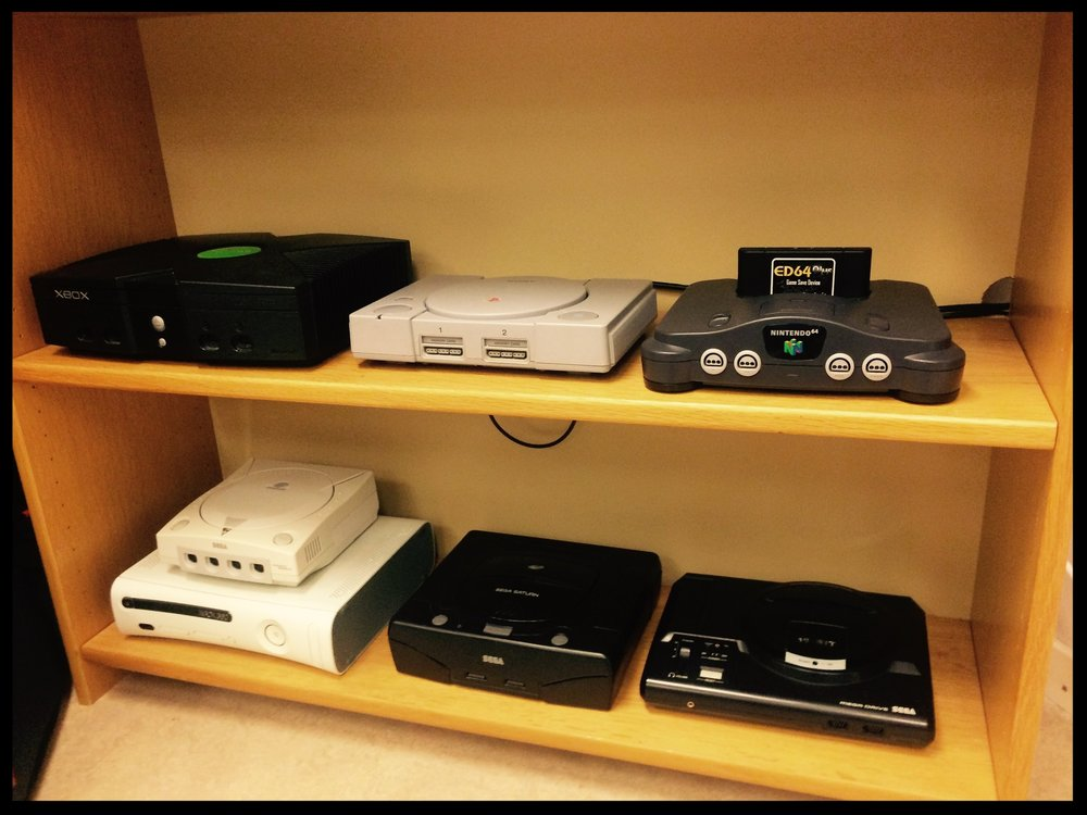 Microsoft XBOX, Sony PS1, Nintendo 64, Sega Dreamcast, Microsoft XBOX 360, Sega Saturn and Sega Megadrive.