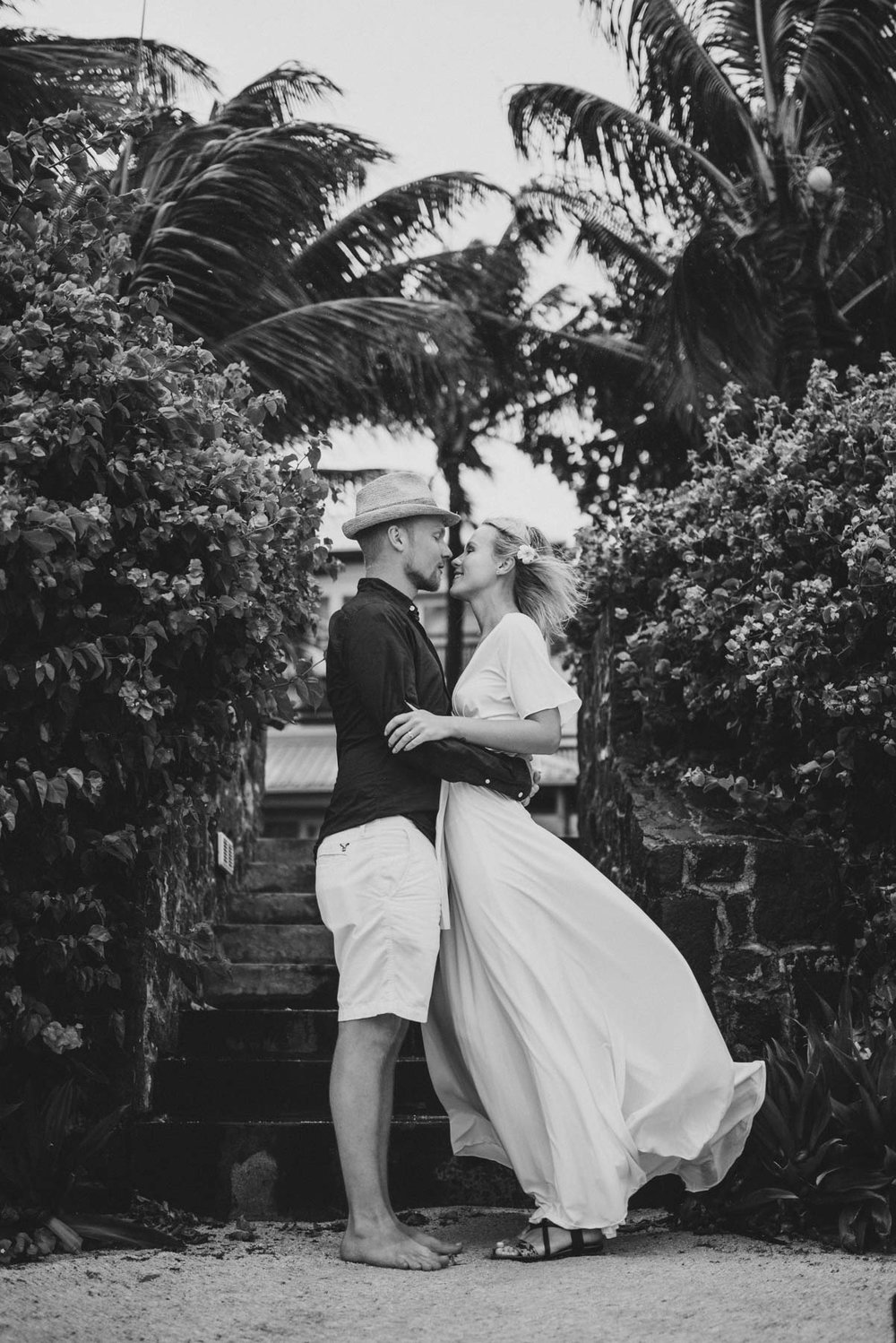 Copy of Sita Kelly | Mauritius Honeymoon Photographer | Couple standing in wind | woman in white dress