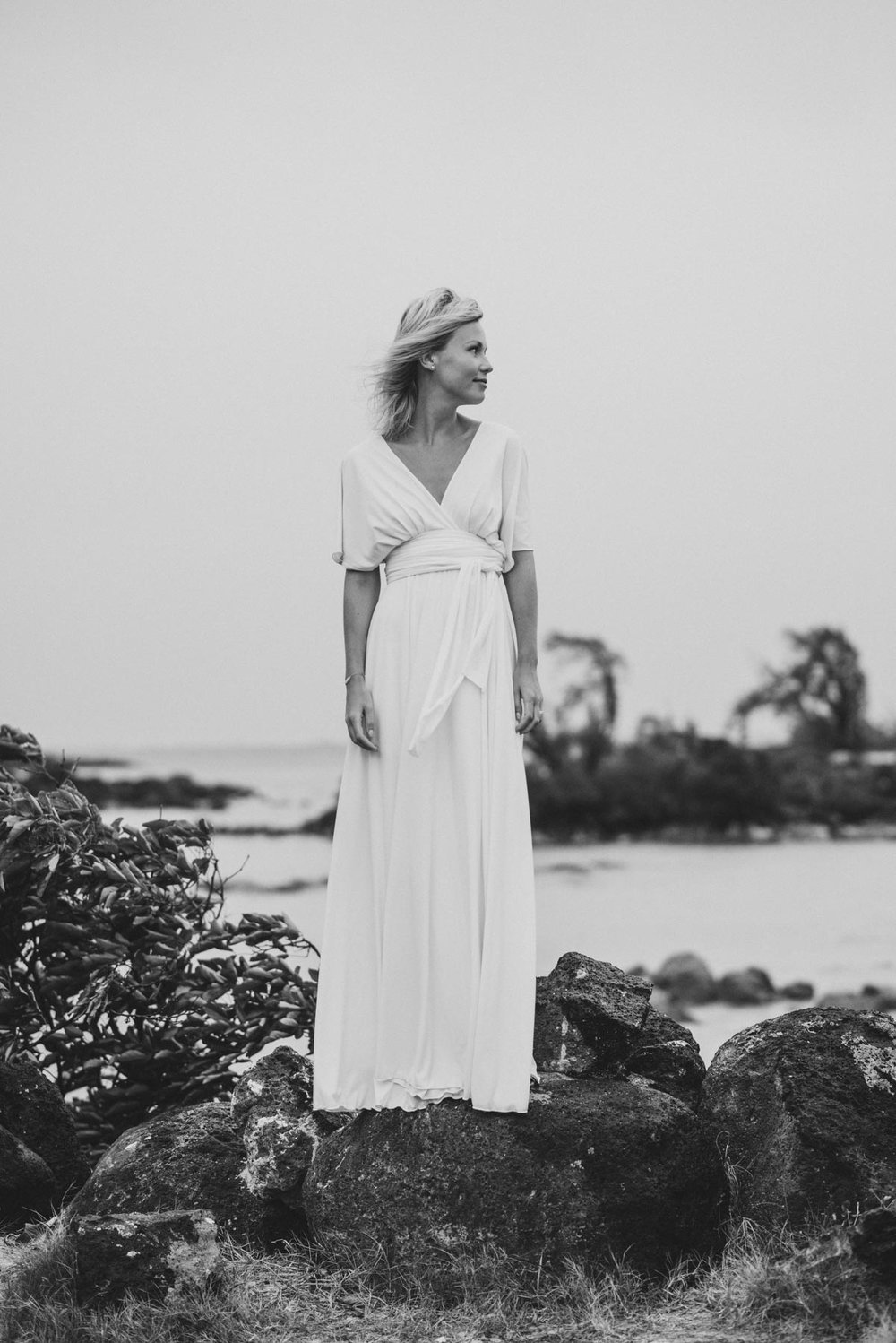 Copy of Sita Kelly | Mauritius Honeymoon Photographer | woman in white dress standing on rocks