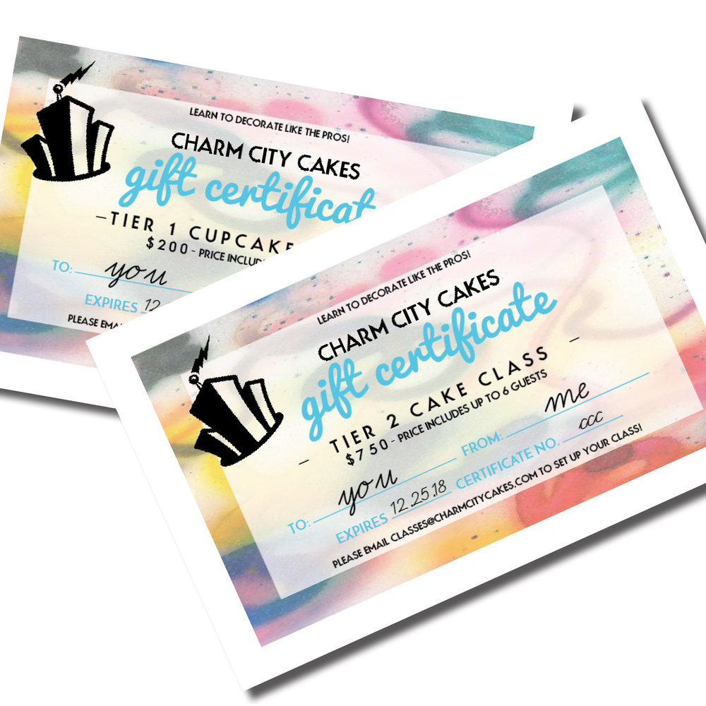 gift certificate for classes charm city cakes