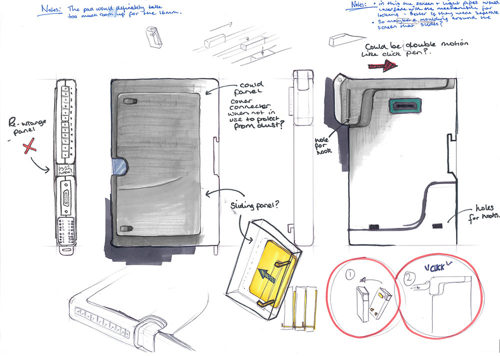 Ideation for a modular piece of technology. Undertaken on placement.