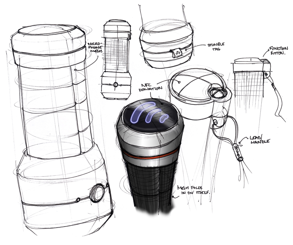 Finalising form of the Busker's Beacon, a contextual design project. Drawn by hand and then rendered in Photoshop.