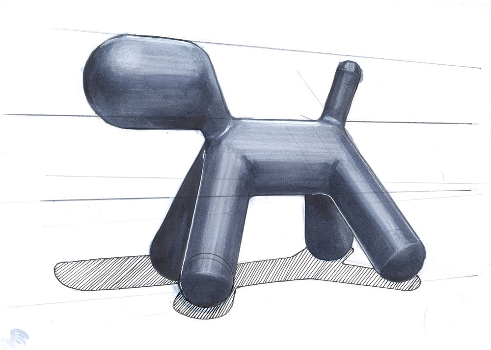 Sketch of the Puppy chair by Eero Aarnio for Magis Design. Marker, pen and pencil.