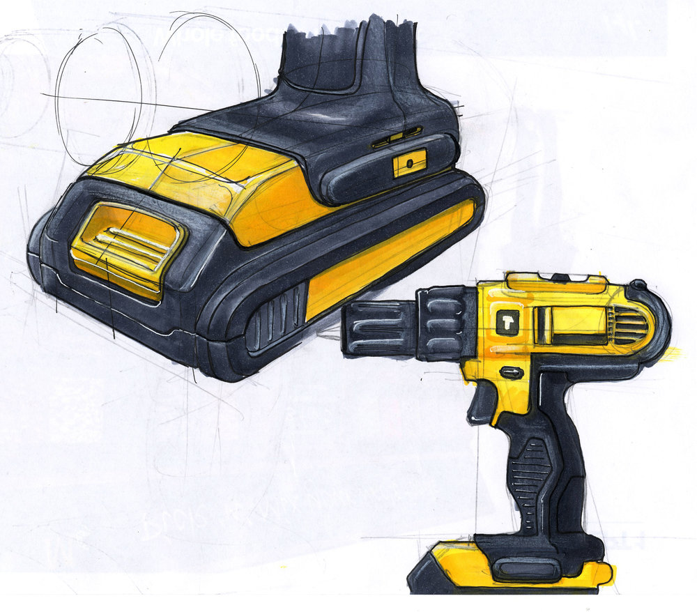 Sketch of a Dewalt 18 volt Cordless Drill. Marker, pen and pencil.
