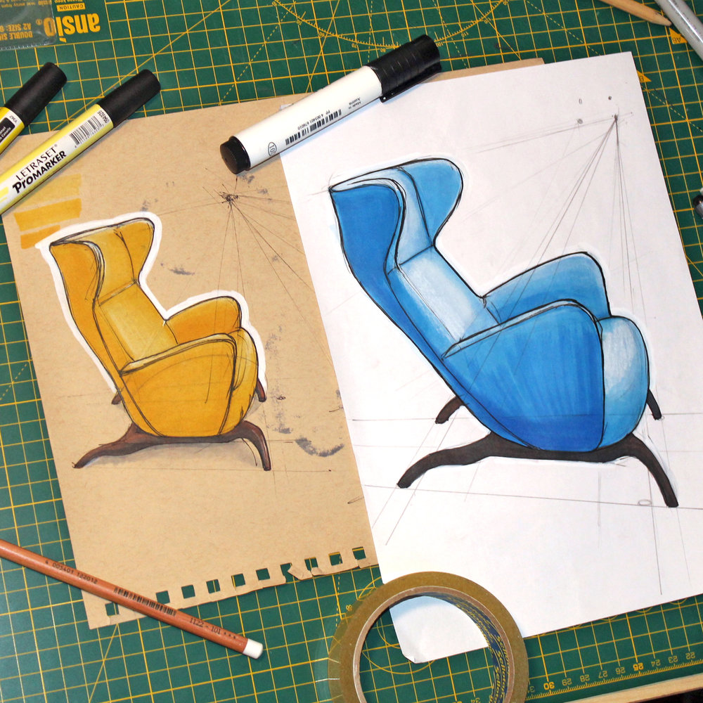 Ardea Armchair by Carlo Mollino for Zanotta, 1944. Marker, pen and pencil.
