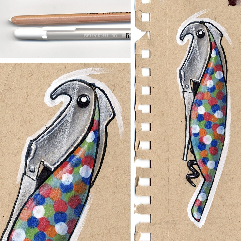 Alessi Parrot Corkscrew - Proust. Marker, pen and pencil.