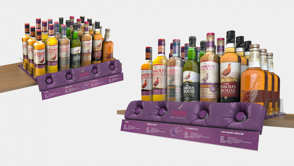 Famous Grouse Shelf Tray Concept. Integrated 'pop-aroma' modules for customer to experience parts of the distilling process.