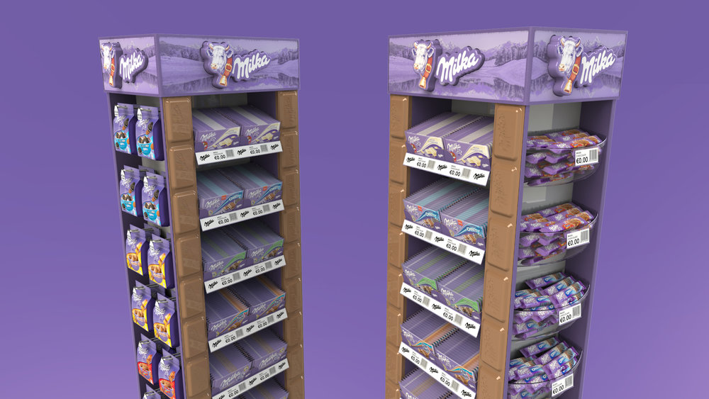 Stock Holding Free Standing Display Unit for Milka.