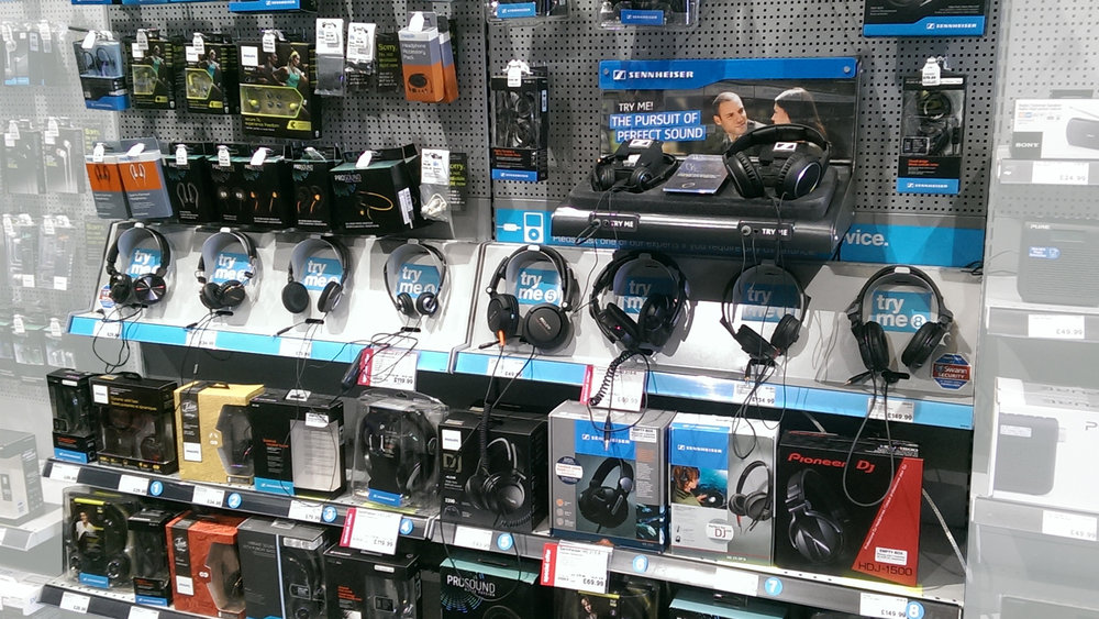 Maplin's current solution for headphone management.