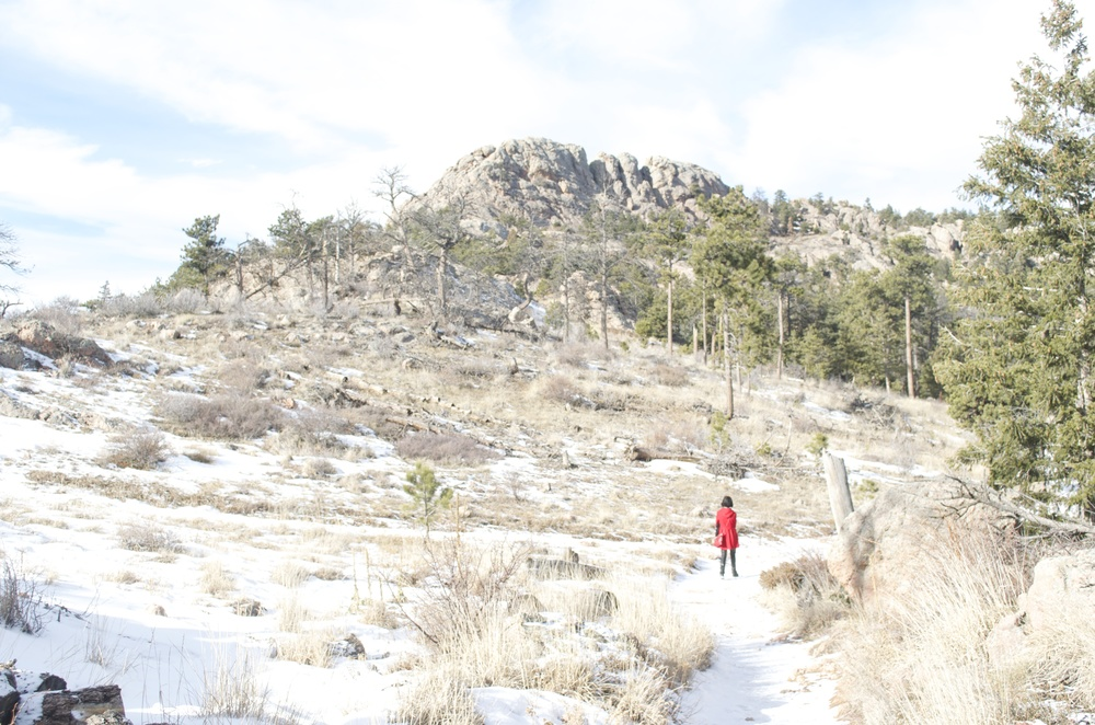 hiking up to Horsetooth Rock in winter