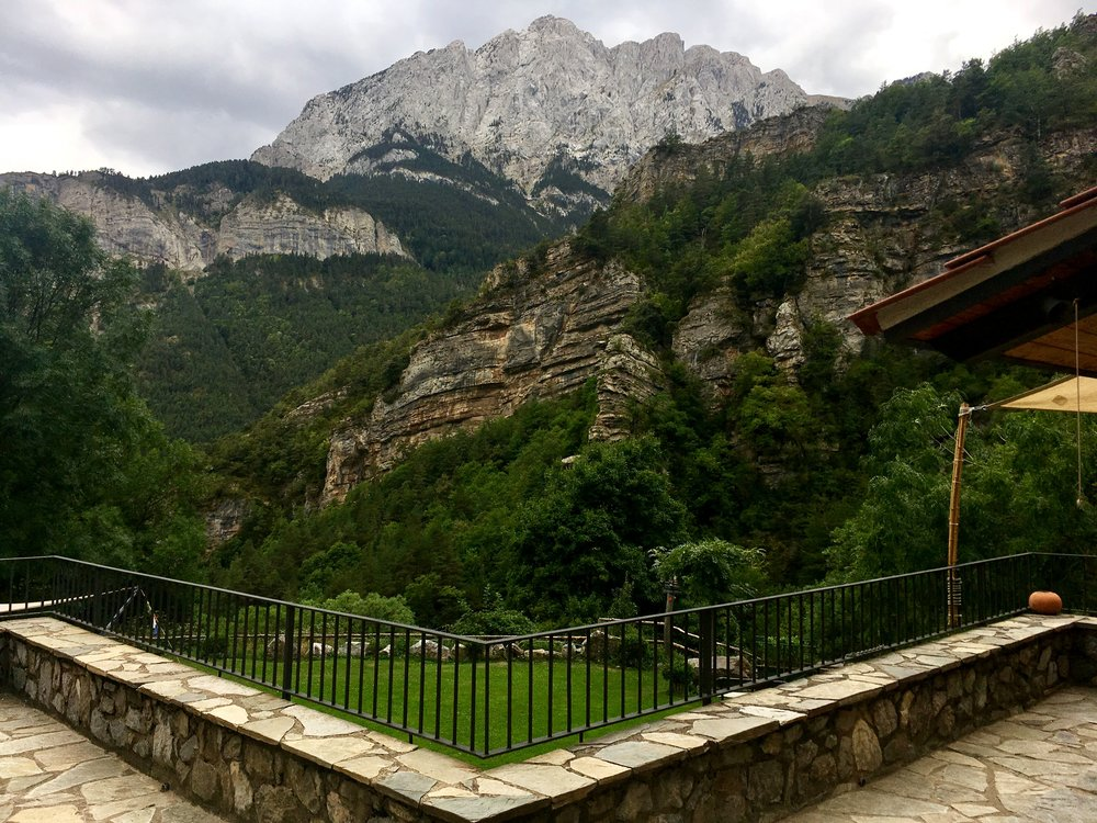 Back yard of the refuge looking out at the backside of Pedraforca