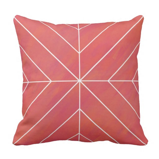 Coral Watercolor Pillow w/ Chevron Pattern Outline