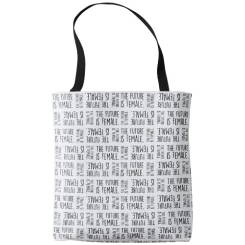 The Future is Female | Black on White Pattern Tote