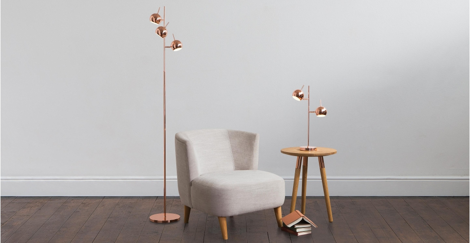 made - austin floor lamp £79 & table lamp £49 - bOTH in copper