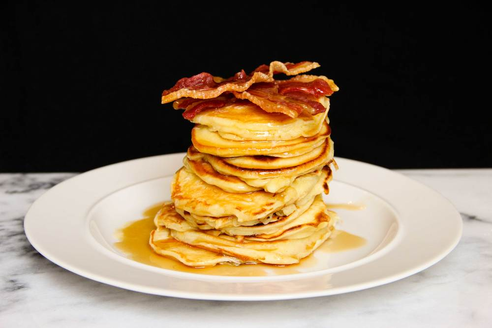 Homemade Recipe Bacon and Maple Syrup Pancakes