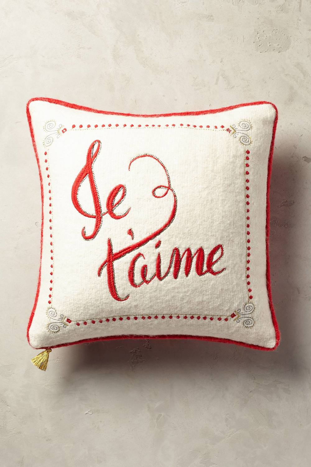ANTHROPOLOGIE - JE T'AIME FESTIVE CUSHION £58