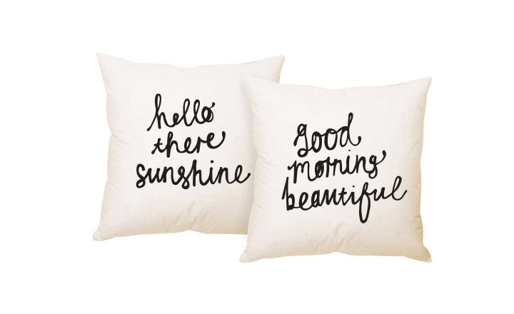ZANA PRODUCTS ON ETSY -His and Hers Couple Cushions Hello There Sunshine & Good Morning Beautiful Pillow Cover set 18 x 18 inch - £19.21 + SHIPPING