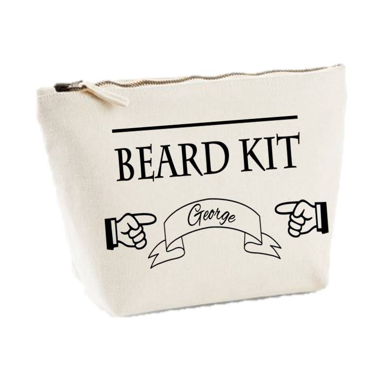 JUST ANOTHER TEE UK ON ETSY - Personalised Beard Kit Canvas Mens Wash Bag Shaving Kit Gift Toiletry Case £9 + SHIPPING