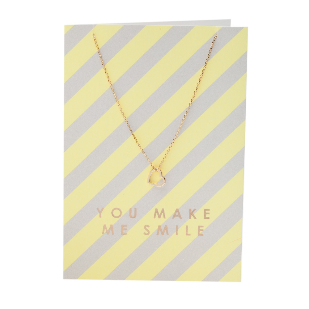 BLOOMSBURY, BATH - ORELIA NECKLACE HEART YOU MAKE ME SMILE, GOLD £15