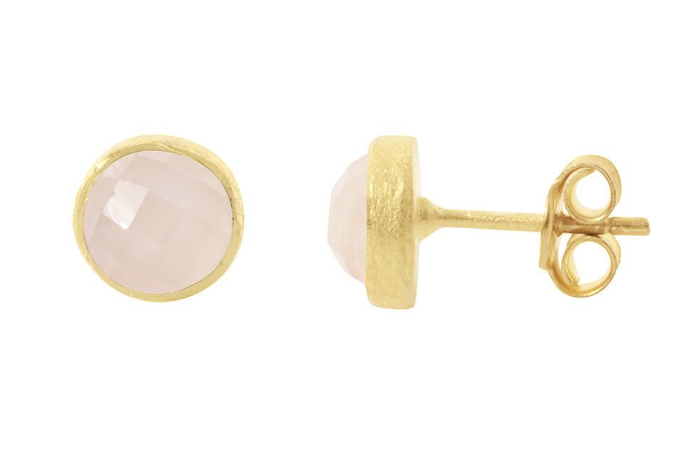 BLOOMSBURY, BATH - Pomegranate Earring Rose Gold Studs,Rose Quartz £22