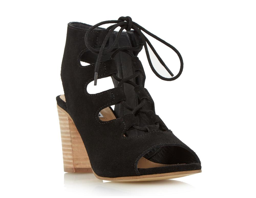 DUNE - JAMIMA BLACK SUEDE GHILLIE LACE UP HEELED SANDAL £75
