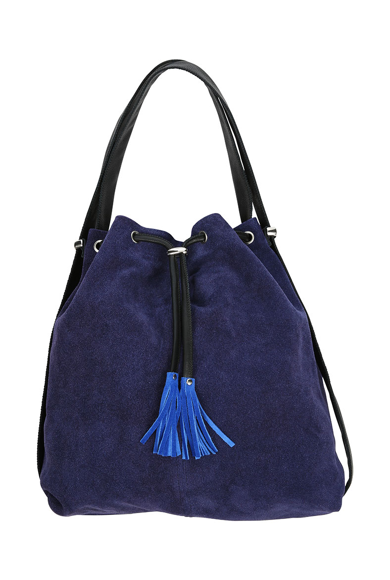 BRORA - SOFT SUEDE DUFFEL BAG IN INDIGO - £159