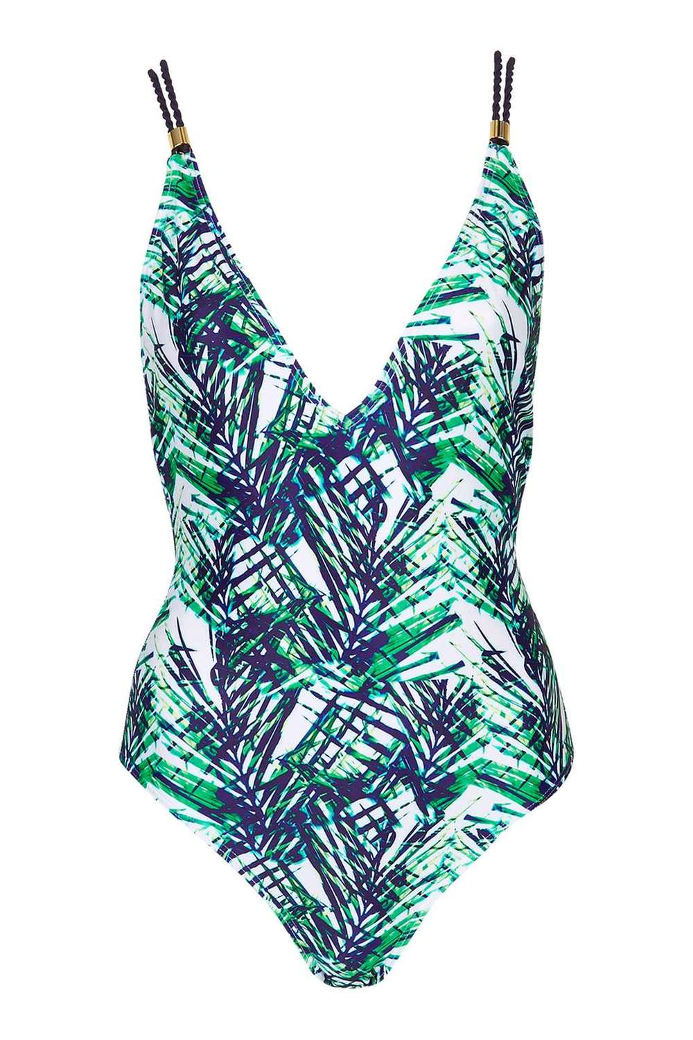 TOPSHOP PALM PRINT TWIST STRAP SWIMSUIT - £34