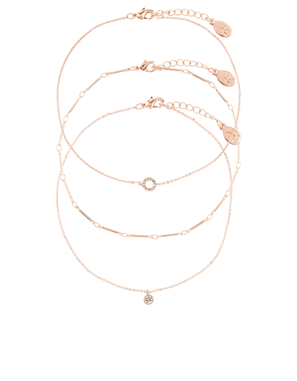 ACCESSORIZE 3 X ROSE GOLD DELICATE ANKLETS - £8