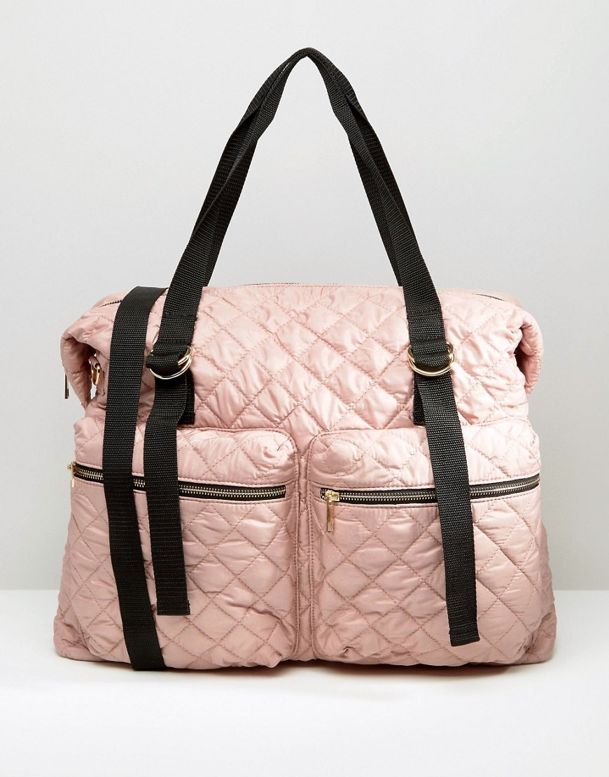 ASOS QUILTED NYON ZIP POCKET HOLDALL £35