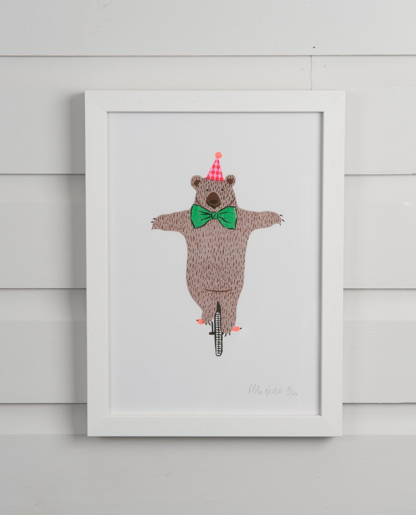 SPOTTY HERBERTS CIRCUS BEAR ON A BIKE PRINT - £15.00