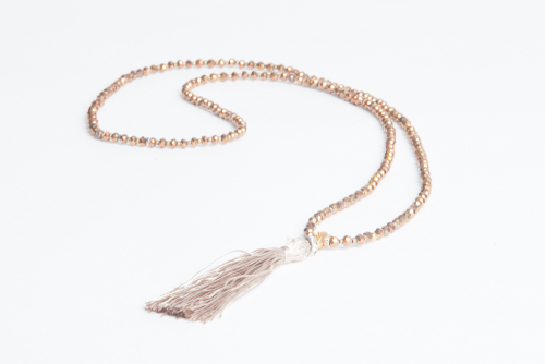 NICKIE PORTMAN BRONZE CRYSTAL WITH GOLD SILK TASSEL NECKLACE - £39.50